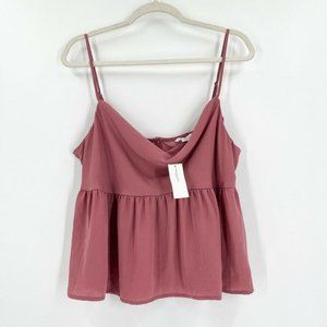 New American Eagle Large Cowl Neck Babydoll Tank Top Cami Dusty Rose Pink Satin